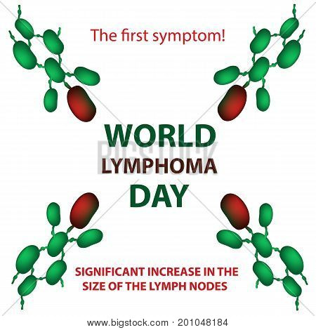 World Lymphoma Day. Increase in the size of the lymph nodes. Vector illustration on isolated background.