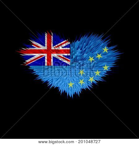 The Heart of Tuvalu Flag abstract background.