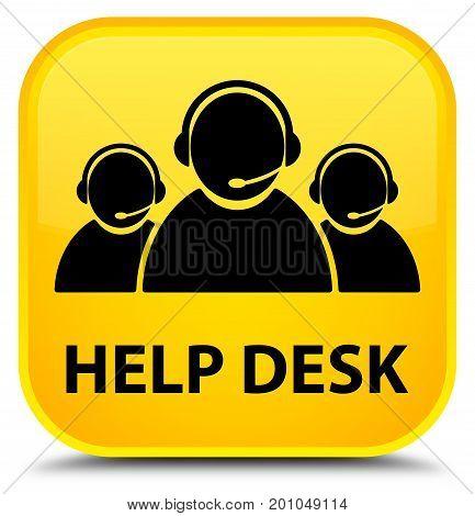 Help Desk (customer Care Team Icon) Special Yellow Square Button