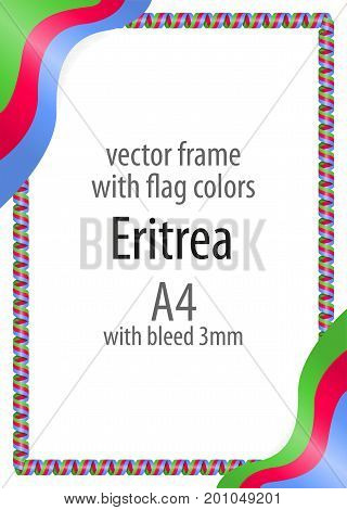 Frame And Border Of Ribbon With The Colors Of The Eritrea Flag