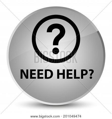Need Help (question Icon) Elegant White Round Button