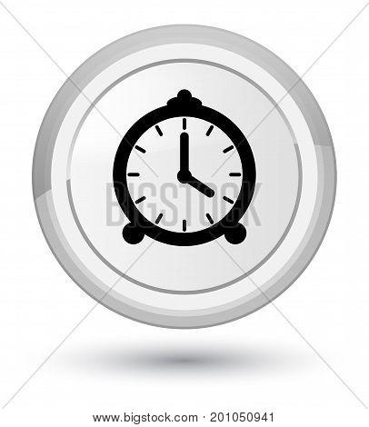 Alarm Clock Icon Prime White Round Button