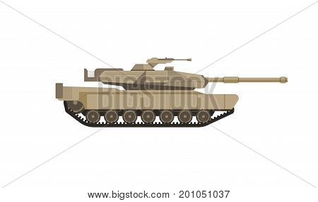 Massive military tank of beige color isolated cartoon vector flat illustration on white background. Armored combat vehicle on caterpillar tracks with cannon armament in turret as main weapon.