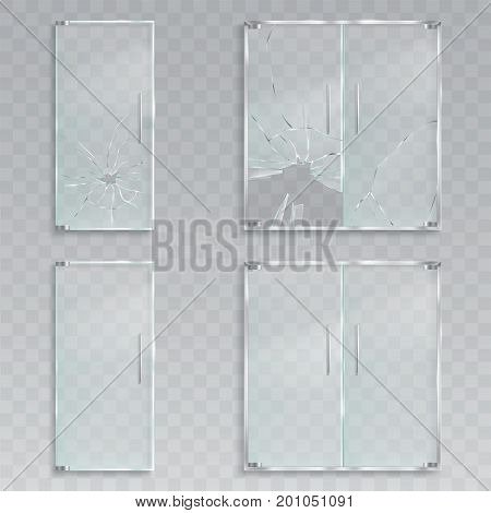 Set of vector realistic illustrations of a layout of an entrance glass doors with metal handles unscathed and with broken glass, a clean transparent doors for an office, a store, a boutique