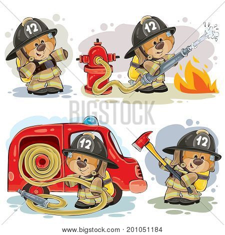 Set of vector clipart illustrations of teddy bear firefighter with rescue equipment isolated on white. Prints, design elements