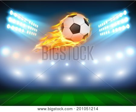 Vector illustration of a football, soccer ball in a fiery flame on a field with the searchlights turned on in a realistic style. Print, template, design element.