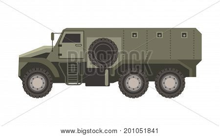 military transport in solid bulletproof dark corpus isolated cartoon flat vector illustration on white background. Heavy long vehicle special for safe freight and soldiers transportation.