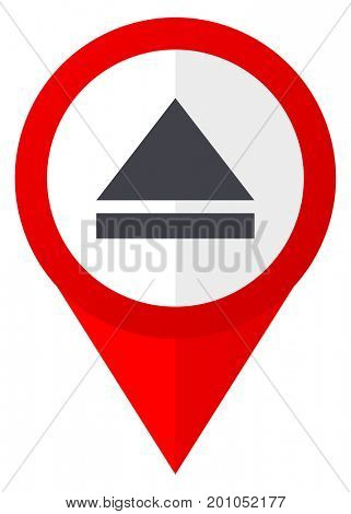 Eject red web pointer icon. Webdesign button on white background.