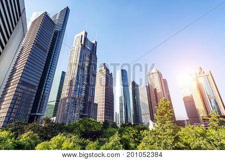 The landmark building of Lujiazui Financial District Shanghai china.