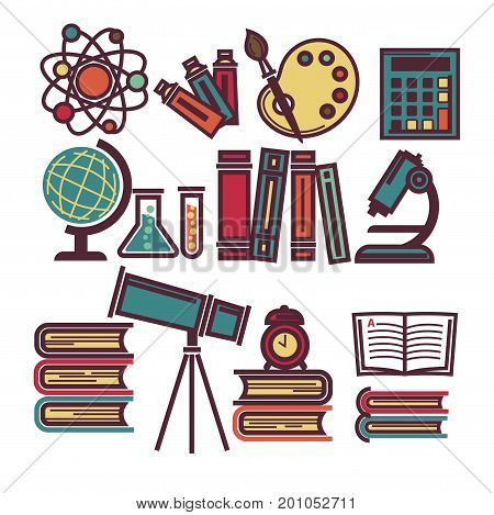 Atom model, tubes with paint, colorful palette, old calculator, round globus, chemical flasks, textbooks in hardcover and optical tools. Supplies for education isolated vector illustrations set.
