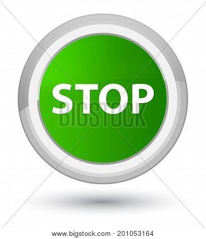 Stop Prime Green Round Button