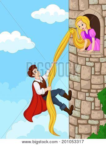 Vector illustration of Prince climbing tower using long hair