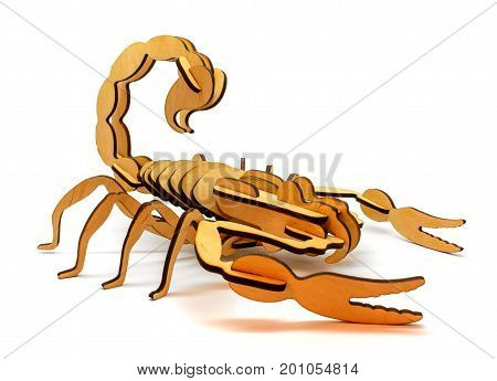 Statuette of brown wooden scorpion isolated on a white background