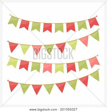 Colorful bunting for decoration of invitations, greeting cards, etc, bunting flags, Christmas colors, vector eps10 illustration