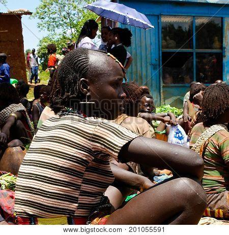 Hamer tribe girls - 03 october 2012 Omo valley Ethiopia