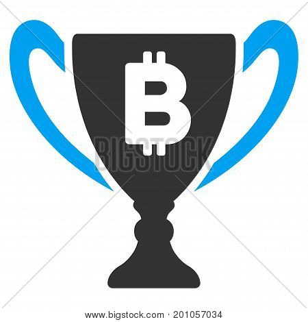 Bitcoin Award Cup flat vector pictograph for application and web design.