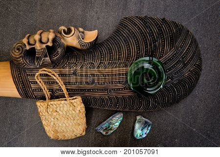 New Zealand - Maori Themed Objects - Mere, Greenstone And Woven Kite Bag