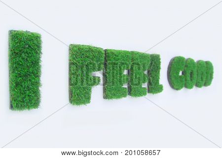 Feel good. Inspirational quote about happiness. Grasses that grow in the word of i feel good. Typography design.