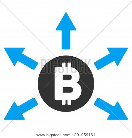 Bitcoin Emission flat vector pictograph for application and web design.