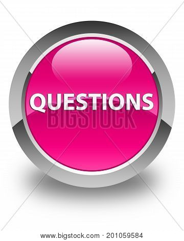 Questions Glossy Pink Round Button
