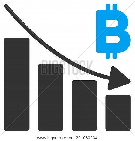 Bitcoin Recession Bar Chart flat vector pictogram for application and web design.