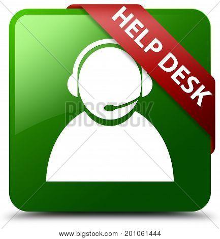 Help Desk (customer Care Icon) Green Square Button Red Ribbon In Corner