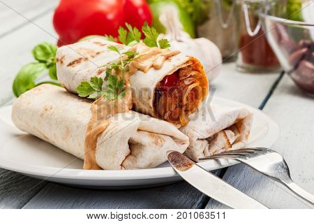 Mexican Burritos Wraps With Mincemeat, Beans And Vegetables