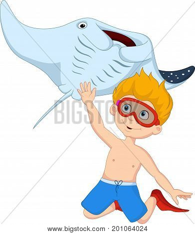 Vector illustration of Cartoon little boy diving with stingray