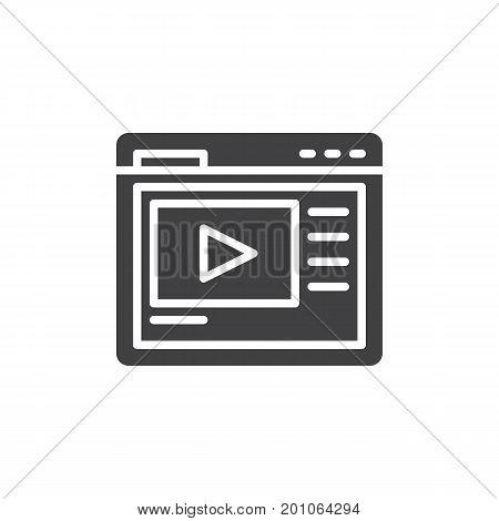 Video hosting website icon vector, filled flat sign, solid pictogram isolated on white. Symbol, logo illustration. Pixel perfect vector graphics