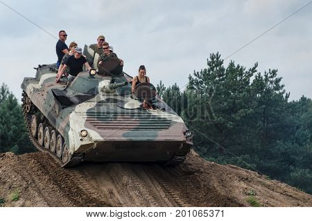 BORNE SULUNOWO, WEST POMERANIAN / POLAND - 2017: International Military Vehicles Rally. Ride a military vehicle to the off-road