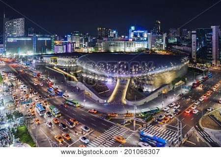 Seoul South Korea - April 19 2016: Dongdaemun Design Plaza Night scene City scape Architecture Landmark designed by Zaha Hadid