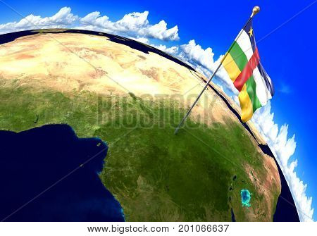 Central African Republic national flag marking the country location on world map. 3D rendering, parts of this image furnished by NASA
