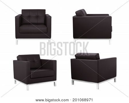 Dark Brown Armchair In Two Angles
