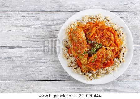 Rice And Fish Braised With Vegetables