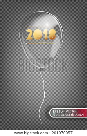 2018 transparent balloon made of glass on a transparent background. Elements of Christmas decorations. Transparent vector object for design, layout. Glossy toy with air inside. Isolated object. Vector illustration.