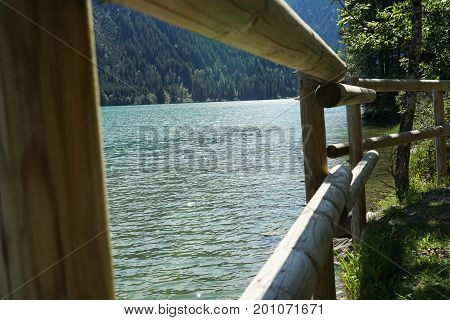 Lake Haldensee in Tyrolean Alps Tannheim Austria