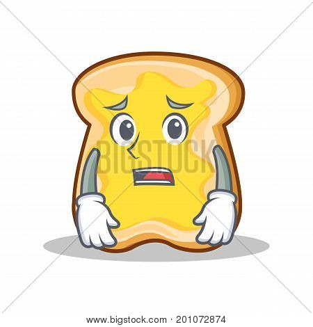 Afraid slice bread cartoon character vector art illustration