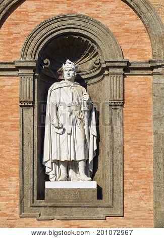 Statue Of Carlo D'angio In Palazzo Reale Di Napoli, Italy.