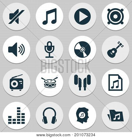Multimedia Icons Set. Collection Of Tuner, Music, Silence And Other Elements