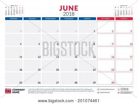 June 2018. Calendar Planner Design Template. Week Starts On Monday. Stationery Design