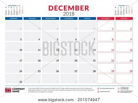 December 2018. Calendar Planner Design Template. Week Starts On Monday. Stationery Design