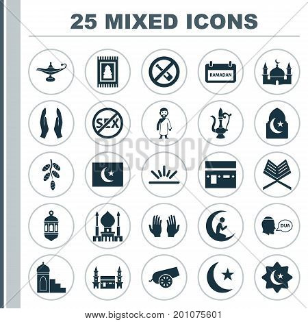 Religion Icons Set. Collection Of Man With Moon, Fruit, Ramadan And Other Elements
