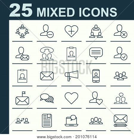 Social Icons Set. Collection Of Mail, Note Page, Badge And Other Elements