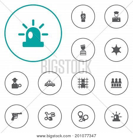 Collection Of Jury, Jail, Signal And Other Elements.  Set Of 12 Criminal Icons Set.