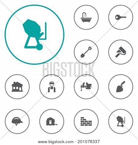 Collection Of Hardhat, Brick Wall, Clamp And Other Elements.  Set Of 12 Construction Icons Set.
