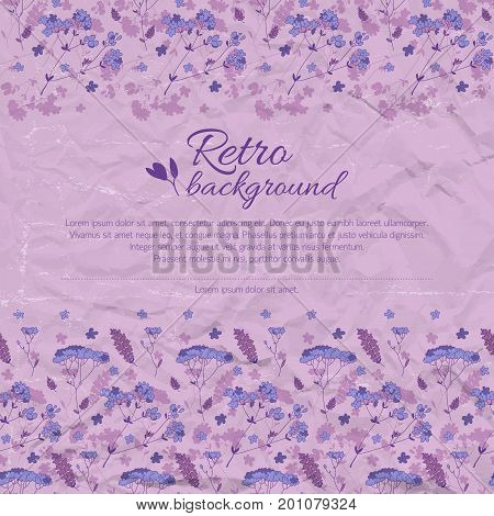 Vintage flourish background with text beautiful flowers on purple crumpled paper vector illustration