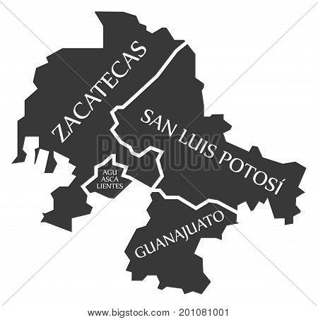 Zacatecas - Aguascalientes - San Luis Potosi - Guanajuato Map Mexico Illustration