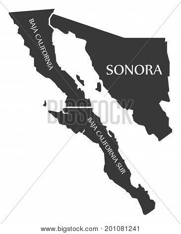 Baja California - Sonora - Baja California Sur Map Mexico Illustration