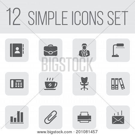 Collection Of Diagram, Address Book, Diplomat And Other Elements.  Set Of 12 Bureau Icons Set.