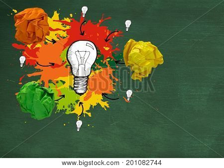 Digital composite of light bulb with colorful crumpled paper balls in front of blackboard